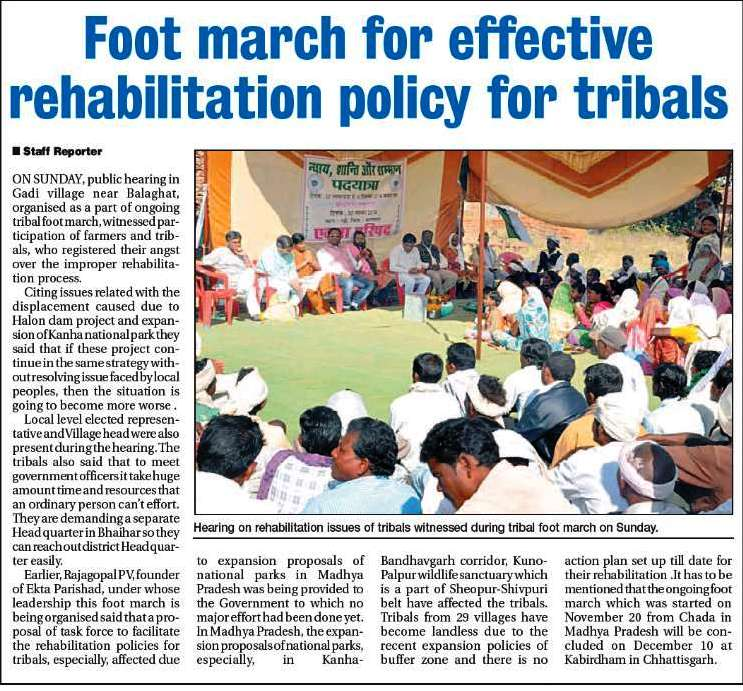 Article in the Hitvada about Ekta Parishad's footmarch